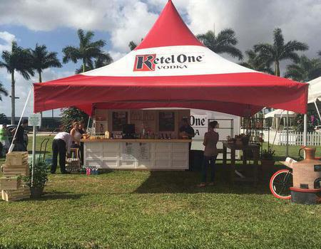 large 20x20 printed frame tent with Ketel One branding made for product sampling at festival