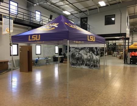 13x13 pop up tent customized for LSU Athletics
