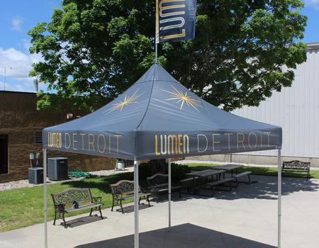 heavy duty concession tent custom printed for Lumen Detroit
