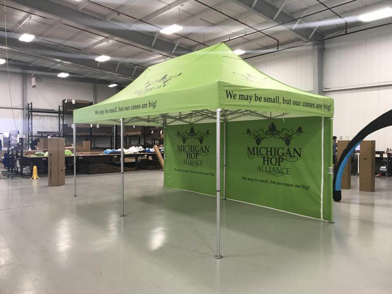 10x20 commercial canopy tent branded for Michigan Hop Alliance