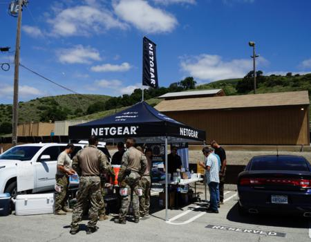 professional pop up tent customized with Netgear branding
