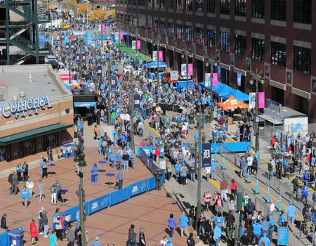 branded 10x10 tents and flags for Ford Field and Detroit Lions event