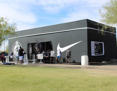 custom made truss event structure built to look like a Nike shoebox