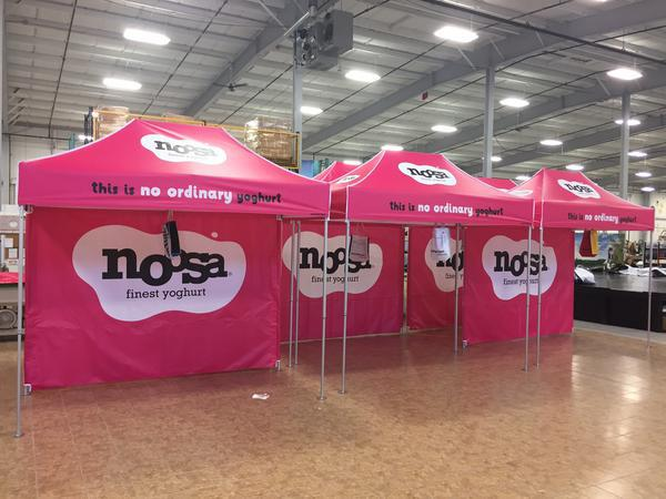 customized pop up tent examples for Noosa product activation and sampling
