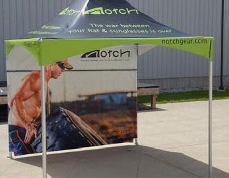example of a custom frame tent with back wall