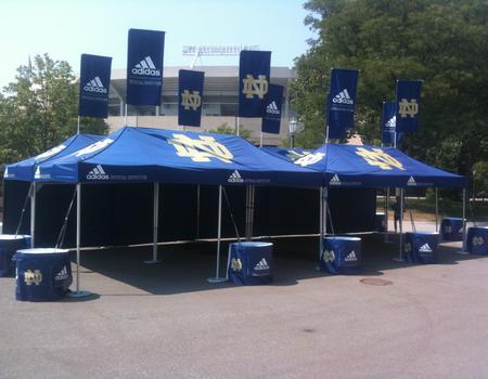 Notre Dame Custom Tents for Pop-Up Event