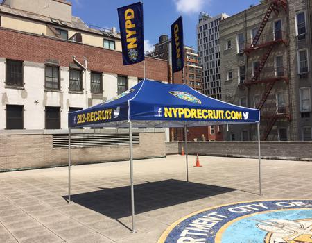 commercial grade 10x15 tent customized for the NYPD recruiting team