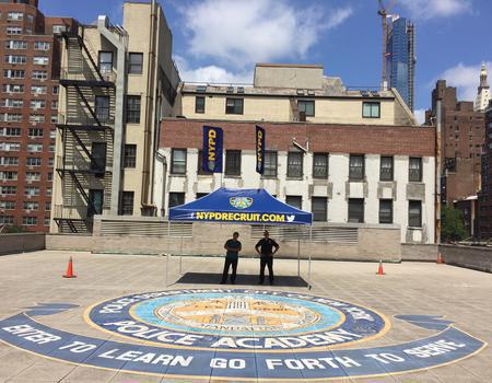 custom 10x15 pop up tent for NYPD recruiting and community outreach