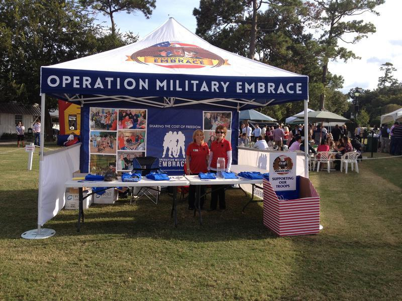 13x13 tent branded for Operation Military Embrace events & community engagement