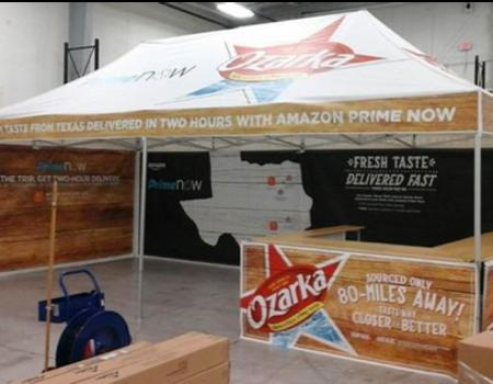 13x26 pop up tent with custom printing on canopy and walls