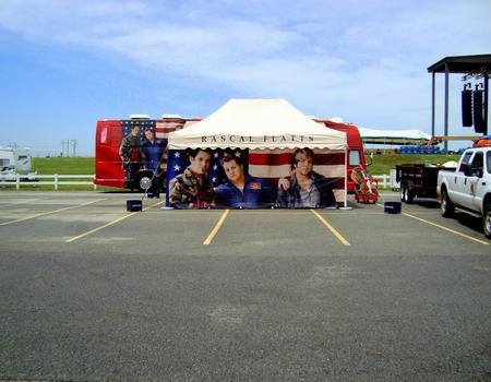 customized event tent branded for Rascal Flatts music tour