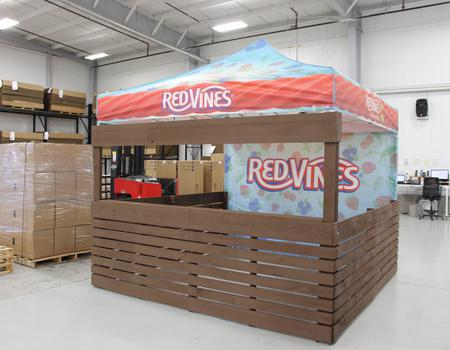 custom popup tent setup for Red Vines