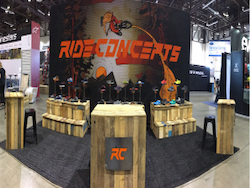 large custom media wall with Ride Concepts branding made for indoor product shoe demonstrations