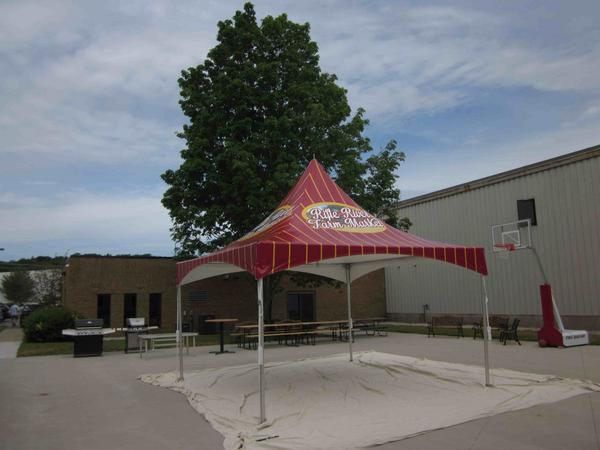 example of a heavy duty 15x15 tent with a branded canopy