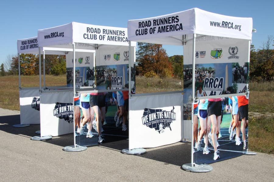 5x5 tents customized for Road Runners Club of America