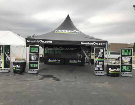 20x20 event tent & signage for Rumble On event marketing