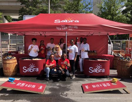 10x20 branded tent for Sabra Hummus mobile marketing sampling experiences