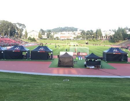 professional team tents branded for the SF Deltas