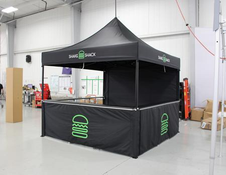 example of a custom event tent for Shake Shack outdoor events and promotions