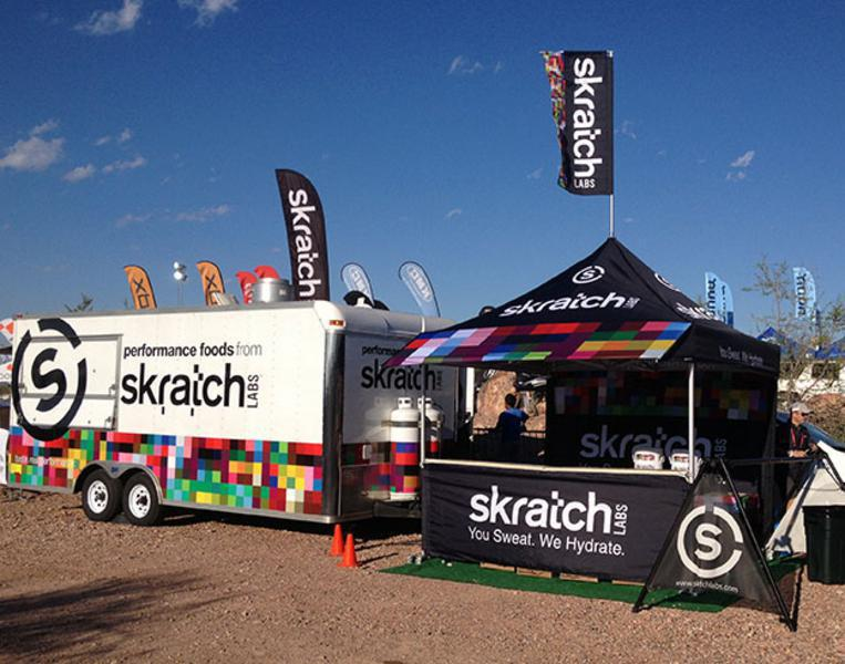 customized tent branded for Skratch Labs race and event marketing team