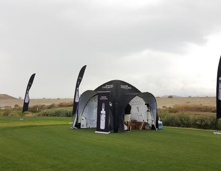 branded event tent with custom printing for Snow Leopard Vodka