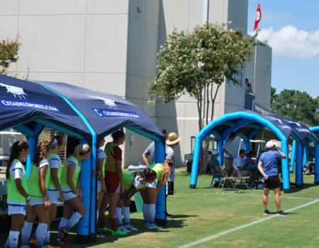 Soccer Club Inflatable Tent Setup