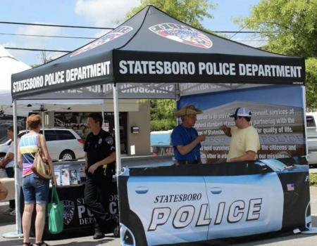 heavy duty pop up tent branded for the Statesboro Police Department