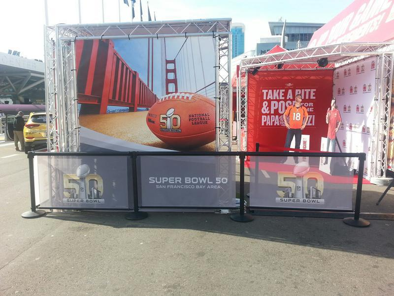 Event truss customized for social sharing experience at the Superbowl
