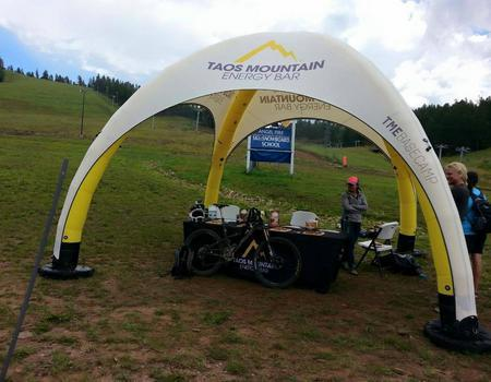 inflatable event tent branded for Taos Mountain Energy Bars