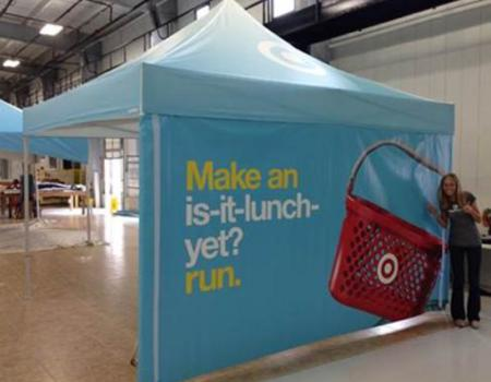 custom printed 13x13 pop up tent for activation