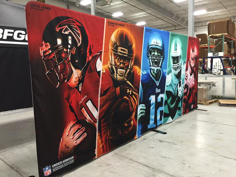 custom printed backdrop display for Under Armour & NFL sponsorship