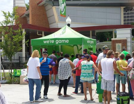 example of a heavy duty pop up canopy customized for the Virginia Lottery