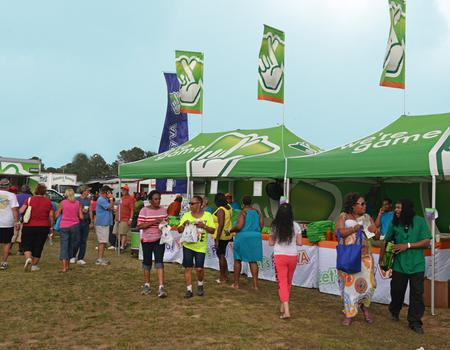 three 13x20 Virginia Lottery pop-up tents with peak flags used at outdoor event