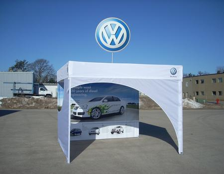 popup tent with custom flat roof and logo topper