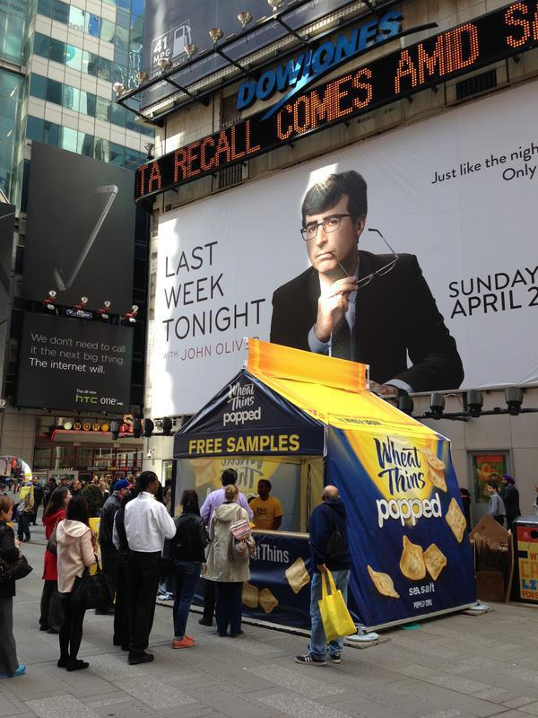 custom built Wheat Thins event tent serving free samples on Times Square New York, NY