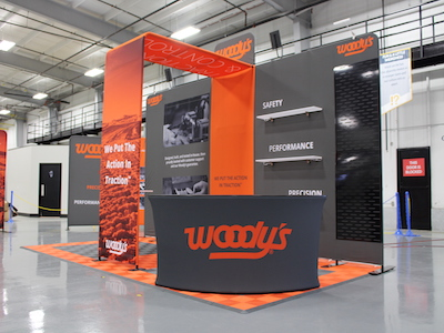 A media wall collection and customization used to display a brand called Woody's.