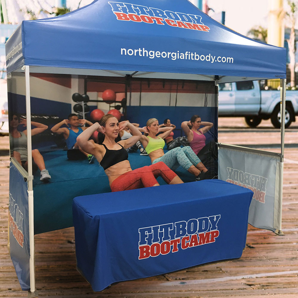 A custom printed full and half tent walls for boot camp company.