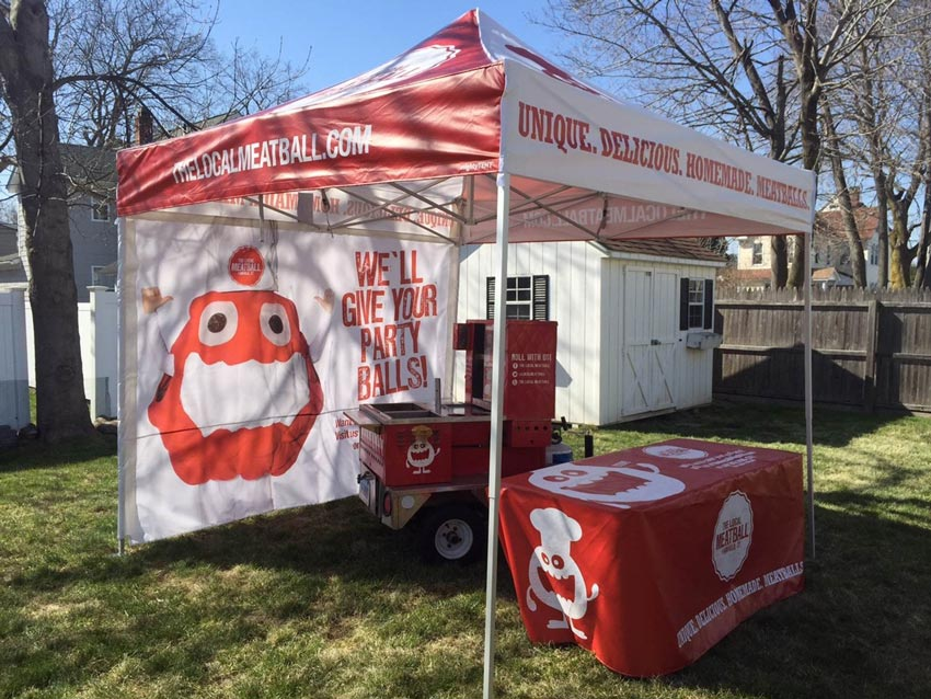 A white and red heavy-duty pop-up tent printed with custom back walls & Food Concession Tent Examples