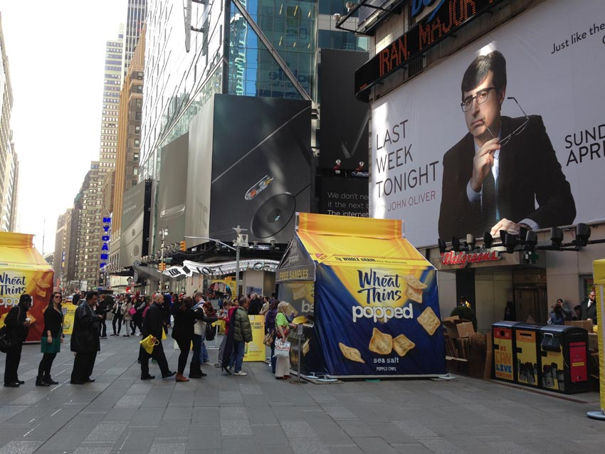 A custom pop-up tent created for the brand Wheat Thins used in Times Square & Food Concession Tent Examples