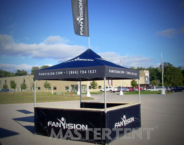 FanVision - 10x10 Mastertent with Peak Flag and Counter