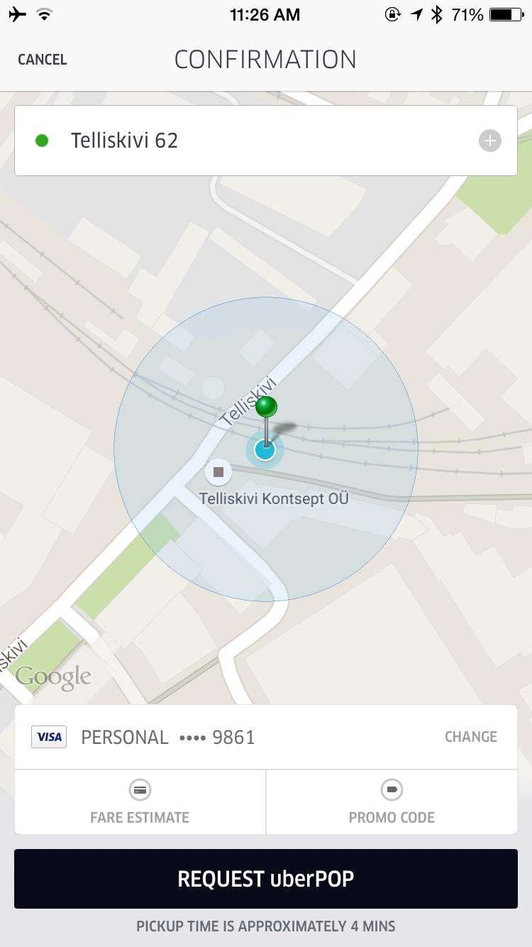 Uber App Button