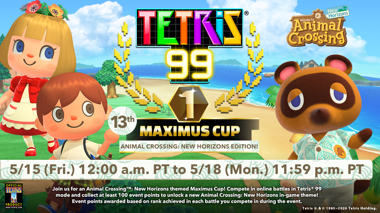 Tetris 99 receives a visit from Animal Crossing: New Horizons
