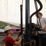 Elizabeth Casey, a student at Tarleton University, helps drill a water well in Guatemala.