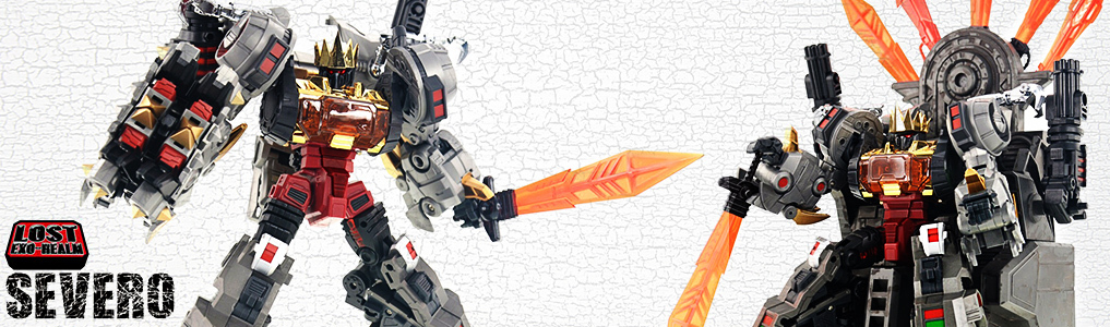 Fansproject's Lost Exo Realm Series Continues!LER-04 Severo  DX version now instock at TFSource!  Includes bonus throne, crown and weaponry plus two mini warriors!