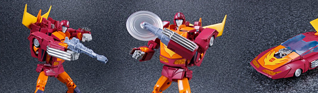MP-28 Masterpiece Hot Rod - Now Instock! Hot Rod features a buzzsaw removable hand, fishing pole, and two guns!  Instock today, order yours today at TFSource!