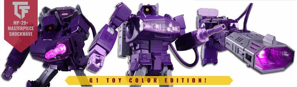 Transformers Masterpiece MP-29+ ShockwaveRemastered in G1 toy color greatness including his pink hand and cannon attachment. Preorder yours at TFSource today!