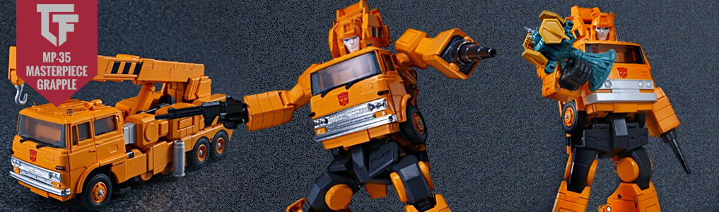 Now instock MP-35 Masterpiece Grapple!The 30 year+ wait is over!  At long last Masterpiece Grapple is revealed, and he includes lots of extras to boot. Order yours at TFSource today!