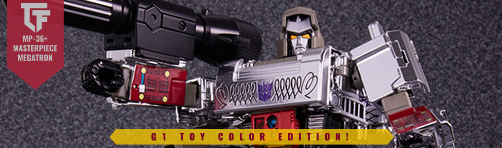 Masterpiece MP-36+ Megatron G1 Toy Version!This Takara Tomy Mall Limited Edition Release is now up for preorder!   Peace through Tyranny!  Order yours at TFSource today!
