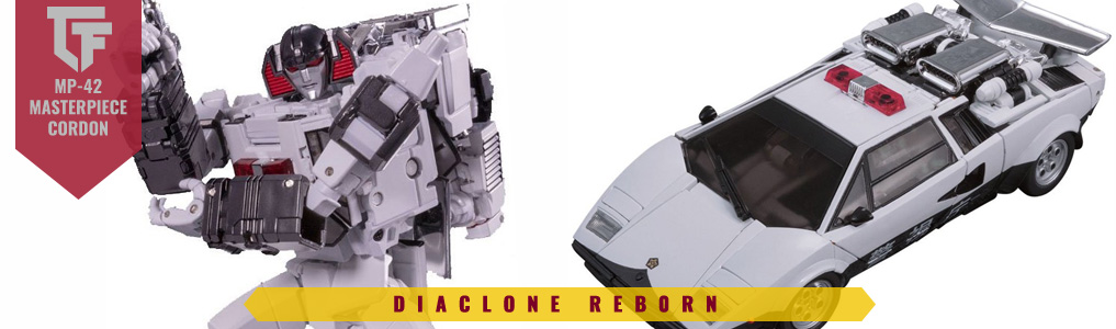 MP-42 Cordon Preorder Announced!Sunstreaker Re-imagined!  Remade from his diaclone roots, includes a police-style redeco including a toy inspired head as well as a silver arm cannon that attaches over the wrist much like the look of the original Diaclone toy he is inspired by!  Preorder yours at TFSource today!