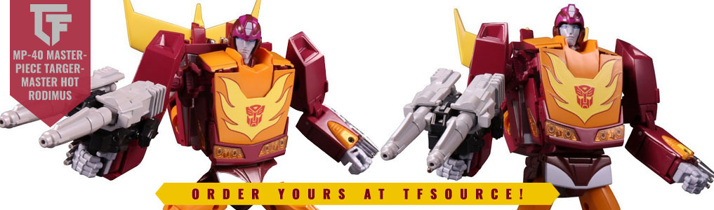 Transformers Masterpiece MP-40 Targetmaster Hot RodimusGet your Targetmaster on with the newest release from Takara/Tomy's Masterpiece Line!  Order yours at TFSource today!